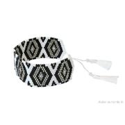 Manchette br�silienne en perles blanches noires et argent