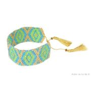 Manchette br�silienne en perles or bleu et vert