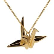 Pendentif origami grue sur sautoir Vermeil
