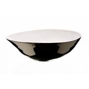 Saladier bas en porcelaine blanche et platine